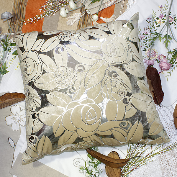 [silver Beige Rose] Decorative Pillow Cushion / Floor Cushion (23.6 By 23.6 Inches)