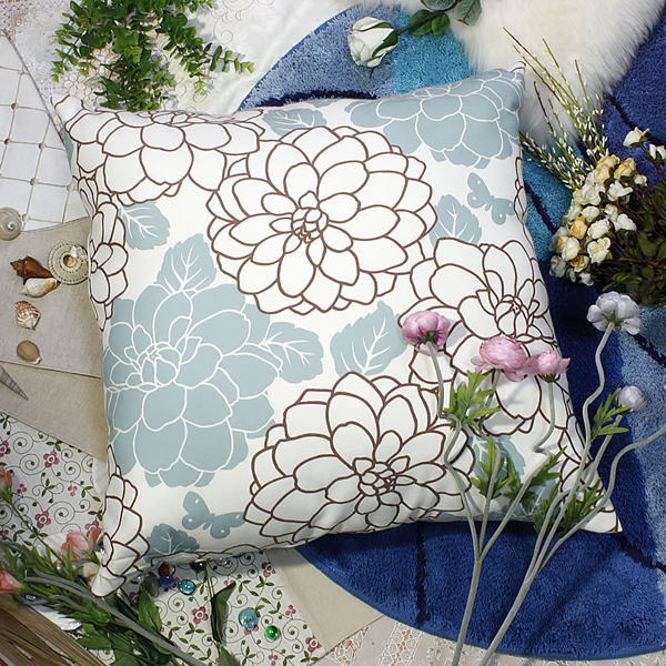 [brown Turquoise Peony] Decorative Pillow Cushion / Floor Cushion (23.6 By 23.6 Inches)