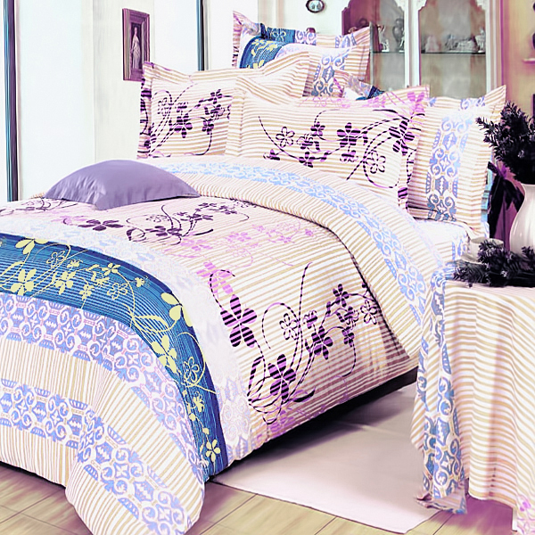 striped orchid 100 cotton 7pc bed in a bag queen size majaneo shop. Black Bedroom Furniture Sets. Home Design Ideas