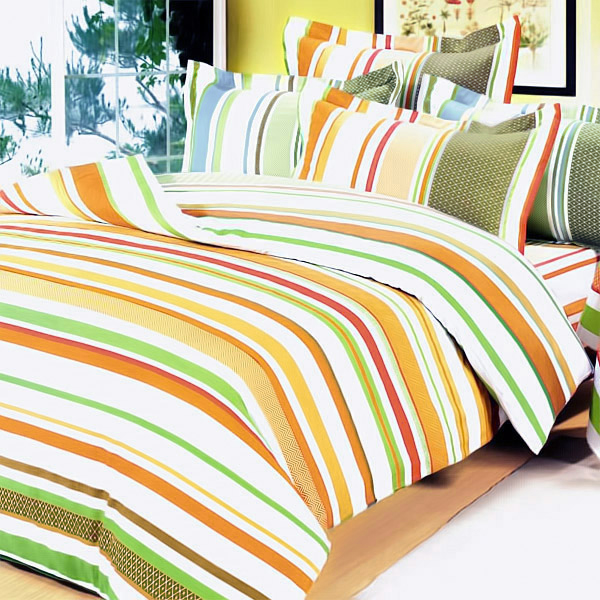 [Orange Stripes] 100% Cotton 5PC Comforter Set (Full Size)