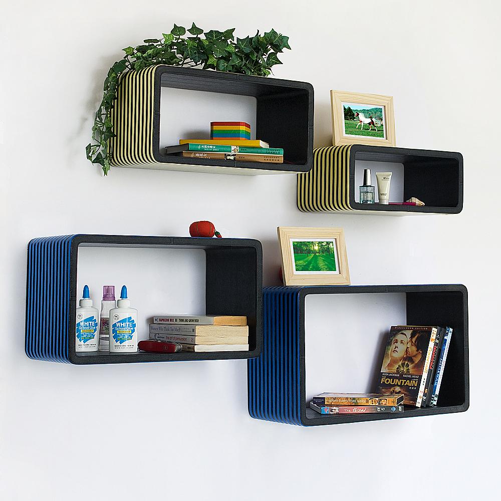 Trista - [blue & Yellow Strip] Rectangle Leather Wall Shelf / Bookshelf / Floating Shelf (set Of 4)