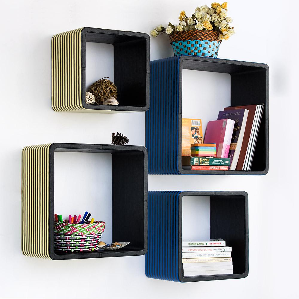 Trista - [blue & Yellow Strip] Square Leather Wall Shelf / Bookshelf / Floating Shelf (set Of 4)