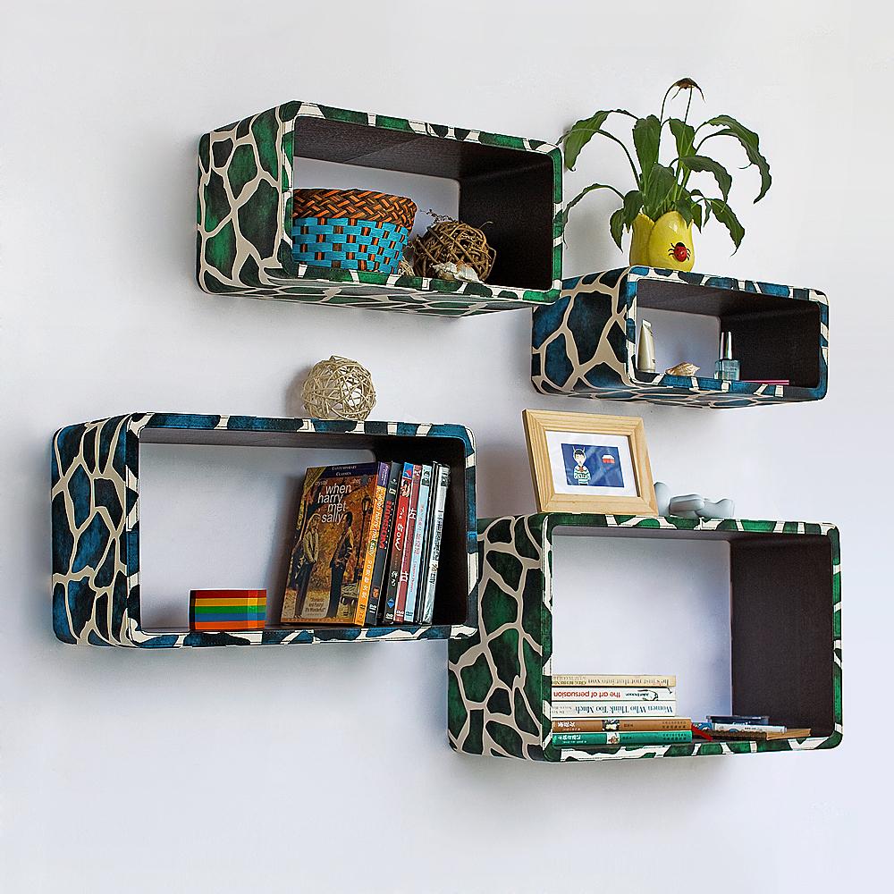 Trista - [blue Green Giraffe] Rectangle Leather Wall Shelf / Bookshelf / Floating Shelf (set Of 4)