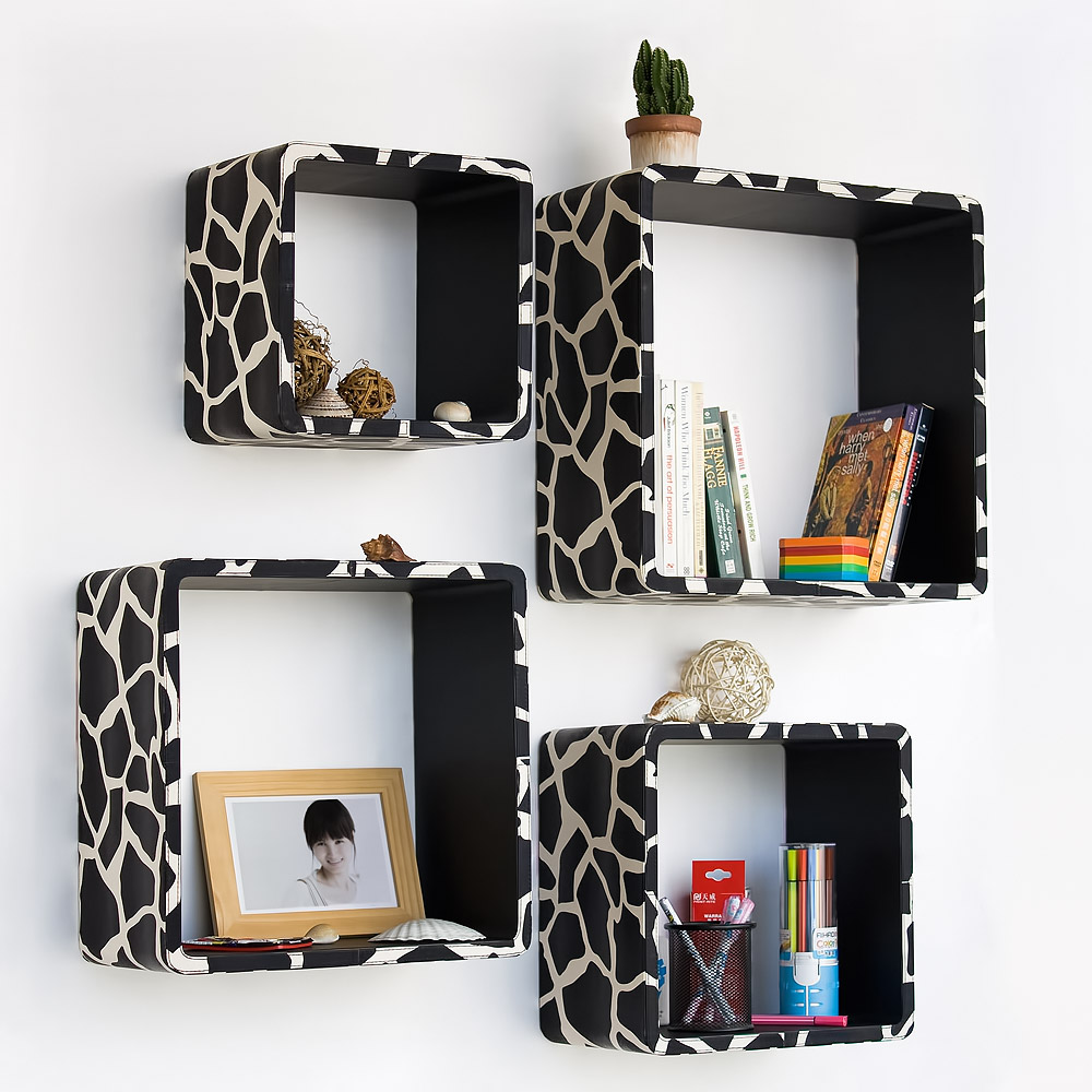 Trista - [black Giraffe] Square Leather Wall Shelf / Bookshelf / Floating Shelf (set Of 4)