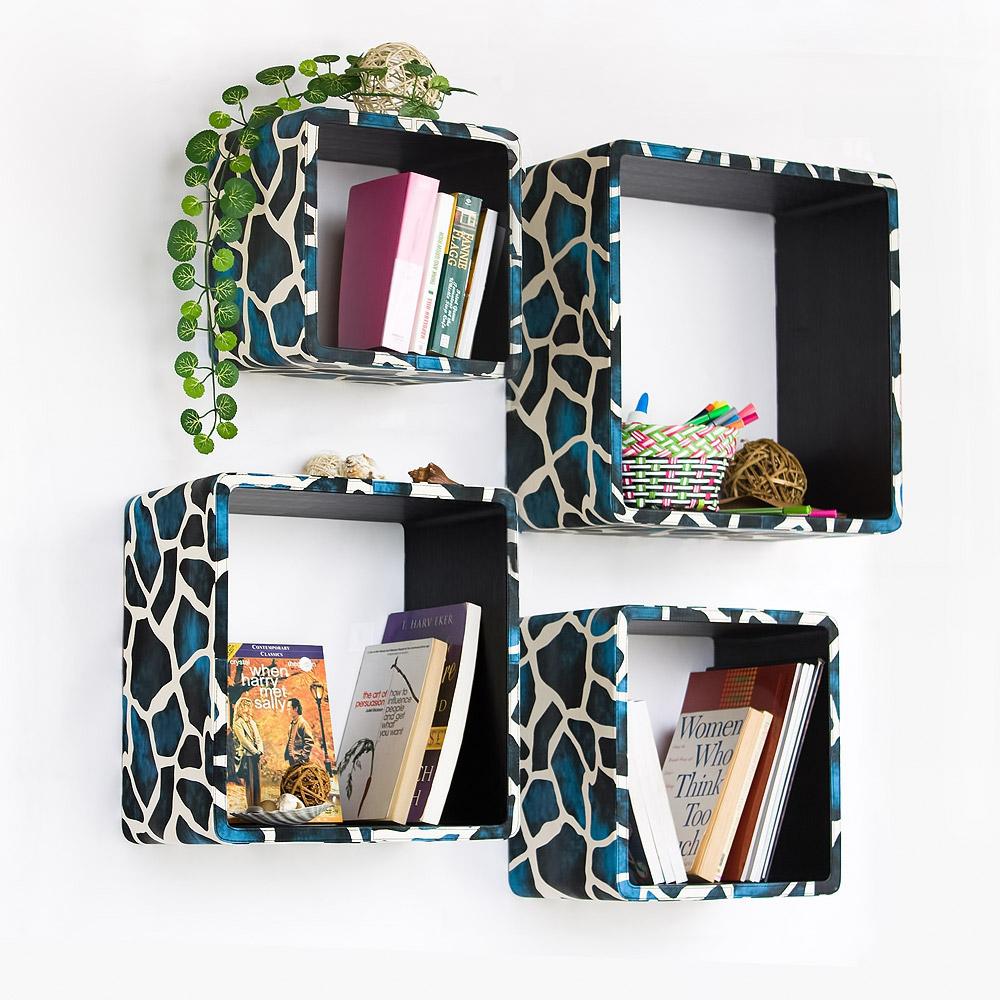 Trista - [blue Giraffe] Square Leather Wall Shelf / Bookshelf / Floating Shelf (set Of 4)