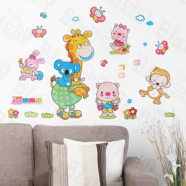 Animal Friends-1 - Medium Wall Decals Stickers Appliques Home Decor