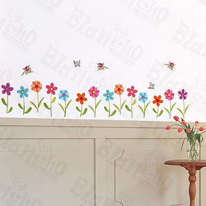 Butterfly & Flower - Large Wall Decals Stickers Appliques Home Decor
