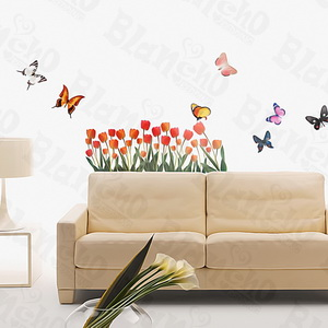 Tulip & Butterfly - Medium Wall Decals Stickers Appliques Home Decor