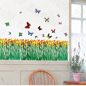 Flying Butterflies-2 - Medium Wall Decals Stickers Appliques Home Decor